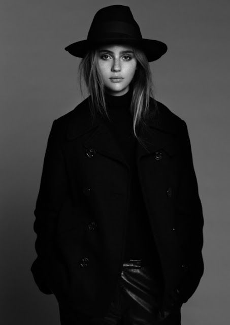 Hat, turtle neck, leather skirt, black and white <3