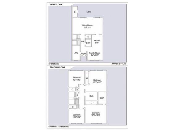 Navy Region Hawaii – Camp Stover Neighborhood: 4 bedroom townhouse floor plan.