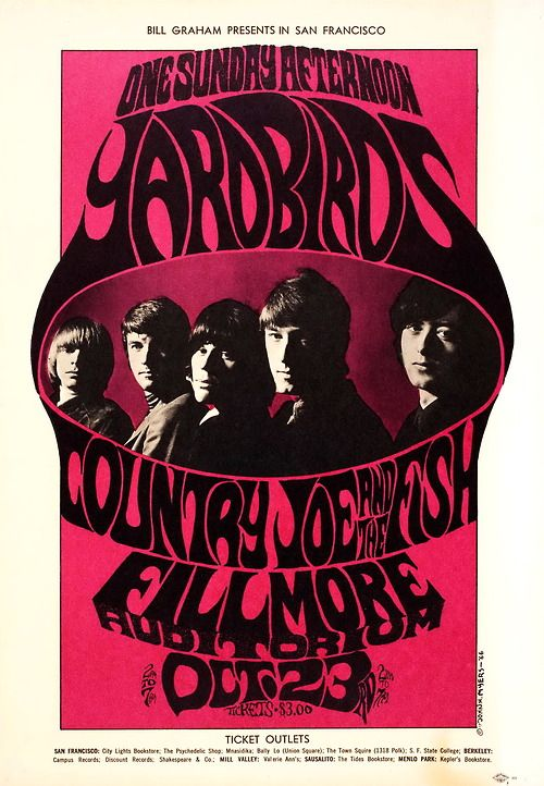 The Yardbirds at The Fillmore Auditorium October 23rd 1966, poster designed by John H. Myers.