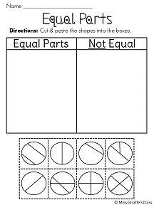 math worksheet : equal parts of a whole fractions worksheets  cut and paste  : Fractional Parts Of A Set Worksheet