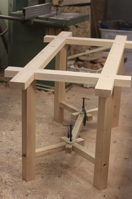 Working on a double dining table and accompanying benches for Table joints