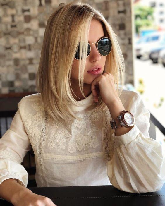 Blonde Hair Short Hairstyle Cortes De Pelo Blonde Cortes Hairstyle Hair In 2020 Frisuren Schulterlange Haare Blond Frisuren Schulterlang
