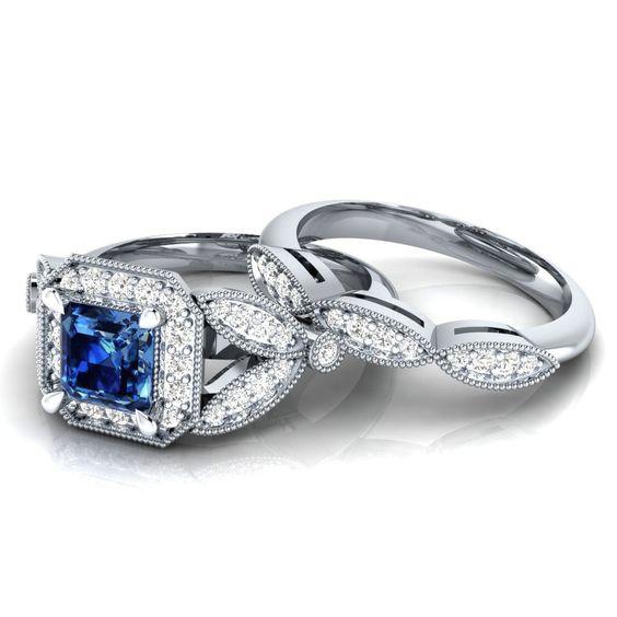 20 Ct Diamante Rotondo E Blu Zaffiro Set Anello Di Fidanzamento | Diamond Ring Set