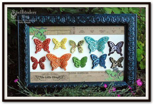 Butterflies Framed using #Spellbinders Wonderful Wings, #MyMind'sEye Paper, #TatteredAngels Glimmer Glam, #Butterfly