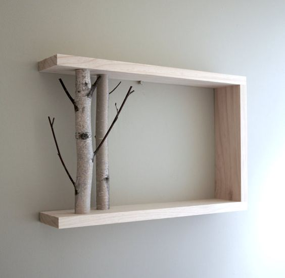 white birch forest - natural white birch wood wall art/shelf:
