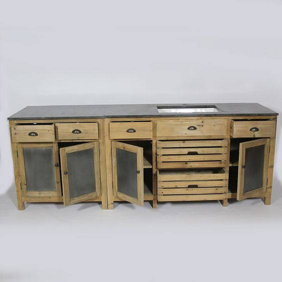 Magnifique cuisine en bois recycl naturel et son plateau for Cuisine bois et pierre