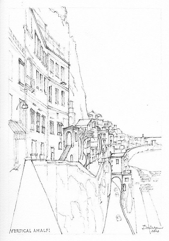 Vertical Amalfi Pencil and Ink Sketch by Dai Wynn.  Now a watercolour painting.
