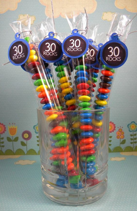 30th birthday party candy favors via Kara's Party Ideas