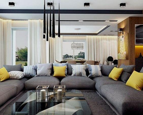 canap gris anthracite chin coussins colors jeunes et ray bleu et blanc - Salon Canape Moderne