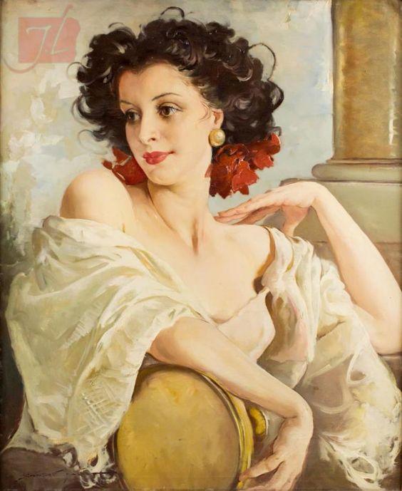 Maria Szantho (1897-1998) Lady with Tambourine: