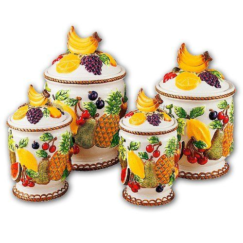 Mixed Fruit 3 Dimensional Majolica 4 Canisters Set New By Kmc Kk Mixedfruit 74 99 Use To Cookies Ers Noodles Flour Sugar Candy
