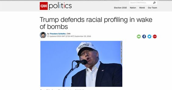 """CNN PUTS WORDS IN TRUMP'S MOUTH: RUNS HEADLINES SAYING HE WANTS """"RACIAL"""" PROFILING GOP nominee never said vetting should be based on race"""