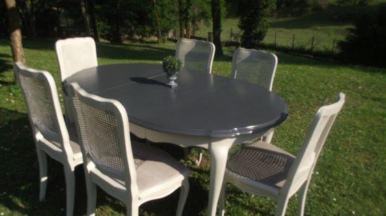 chaises et tables patinées ( lin ardoise)