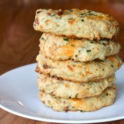 Cheddar, bacon, chives, and garlic all united in one big buttery biscuit.