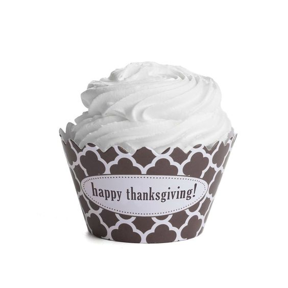 Happy Thanksgiving Cupcake Wrapper: Brown and White Spanish Tile Quatrefoil…