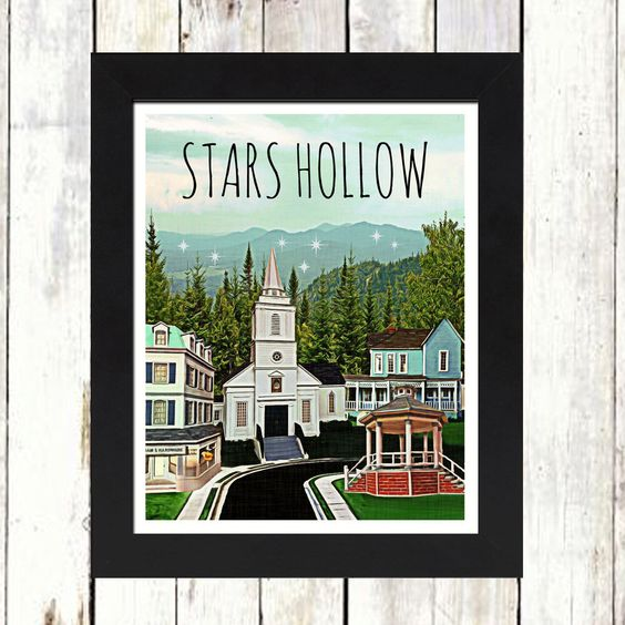 STARS HOLLOW - gilmore girls - art print - rory - stars hollow - coffee - dragonfly - yale - connecticut - mother - daughter - carole king by TipsyRiver on Etsy https://www.etsy.com/listing/256860871/stars-hollow-gilmore-girls-art-print