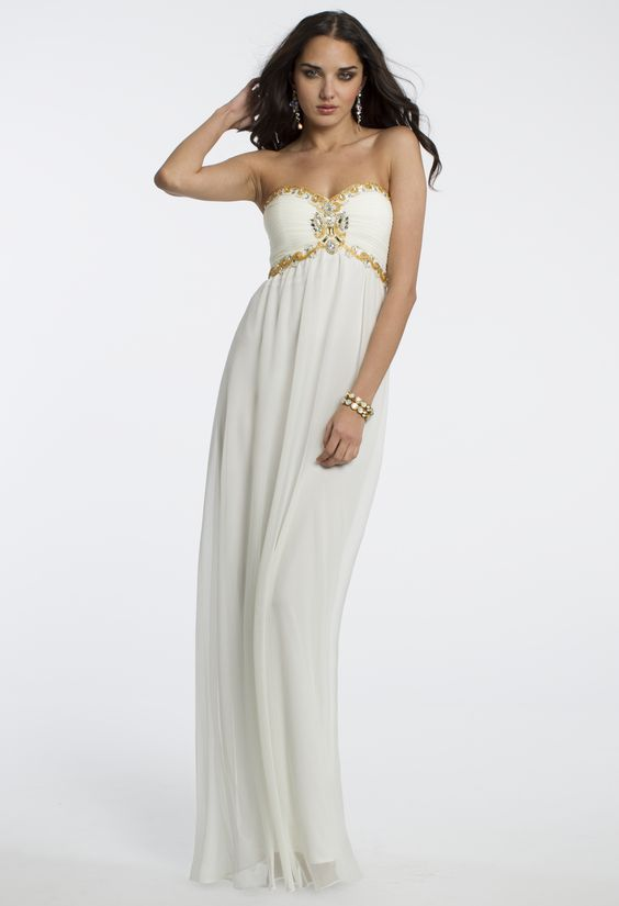Camille La Vie Long Grecian Beaded Prom Dress