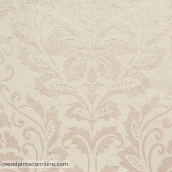 Papel pintado flock 4 2554 57 con fondo en beige con for Papel pintado beige