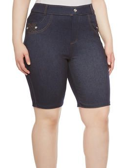 Plus Size Soft Knit Denim Bermuda Shorts with Braided Pocket Detail - 1960072716108