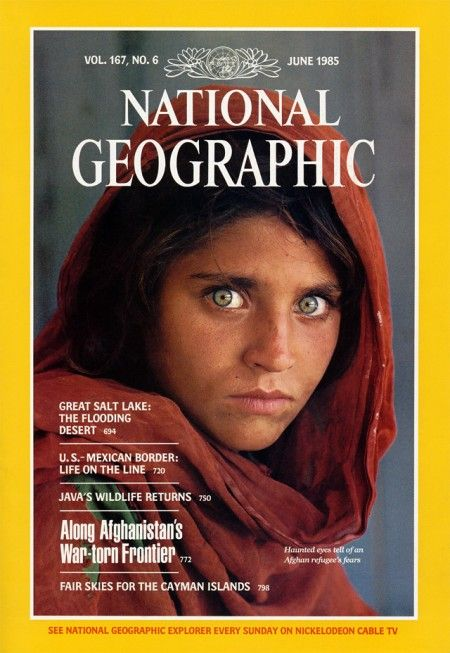 """Steve McCurry, """"The Afghan Girl,"""" National Geographic, June 1985, cover"""