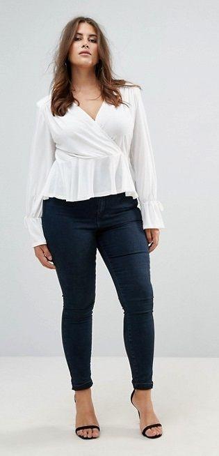 Plus Size Wrap Front Blouse - Plus Size Fashion for Women