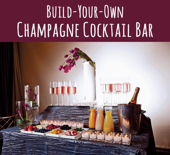 Champagne drink bar INGREDIENTS TO SET OUT:  -sparkling wine, Aperol, Guinness  -sparkling water  -fresh berries like raspberries, strawberries, and cranberries  -fresh squeezed juice like grapefruit, cranberry, orange, and/or watermelon  -lemon twists  -sugar cubes or Angostura sugar cubes  -Angostura bitters