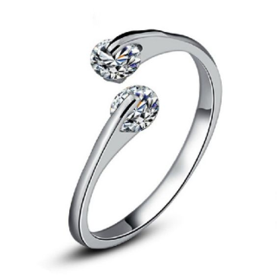 Lovely Cute Double Diamond Sterling Silver Ring