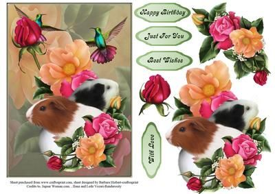 Flowers and Guinea Pigs Topper and Decoupage on Craftsuprint - Add To Basket!