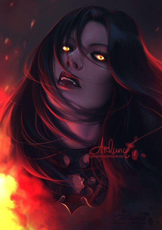 #ArtStation #ArkunyArt #CharacterArt #FantasyCharacterArt #D&D #Vampire #Female #Fire #Portraits #CharacterPortraits