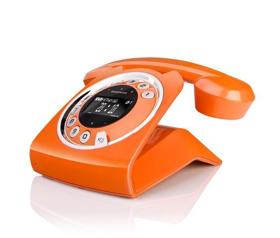 Telefone retrô moderno, sem fio, com secretária eletrônica