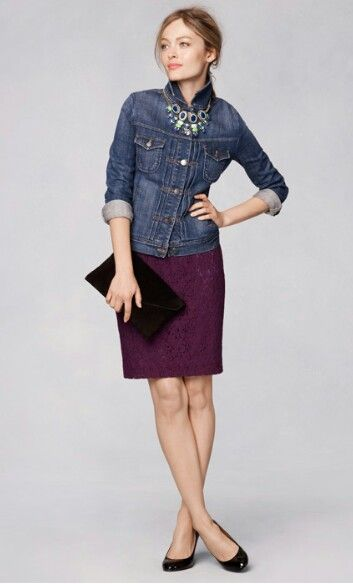 JCrew fall 2013  dress, denim jacket (buttoned!), statement necklace