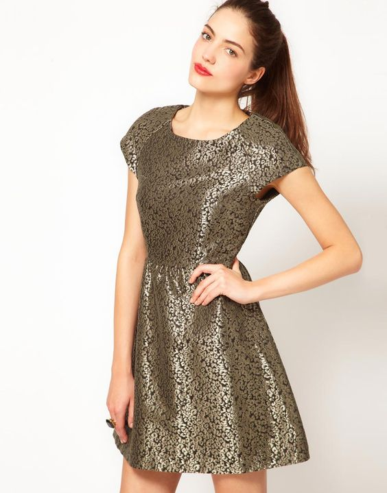 Asos metallic jacquard dress