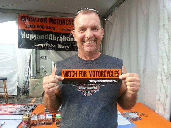 """He is just so HAPPY to receive his new """"Watch for Motorcycles"""" sticker at the Harley-Davidson 110th Anniversary Celebration in Milwaukee, Wisconsin.  #harley #motorcycle #milwaukee"""