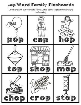 Op Word Family Worksheets Word Family Worksheets Word Families Family Worksheet