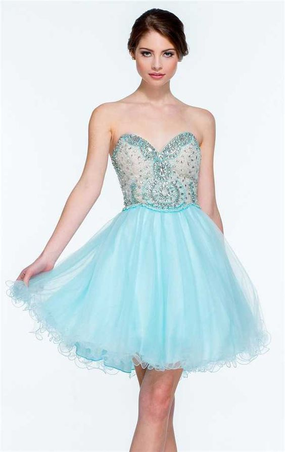 Terani 151p0006 Strapless Beaded Short A Line Prom Dresses ...