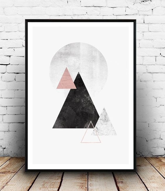 Minimalist print, Mountains print, Watercolor art, Geometric poster, black and pink, Marble print, Nordic style, Triangle art, Home decor  Dimensions