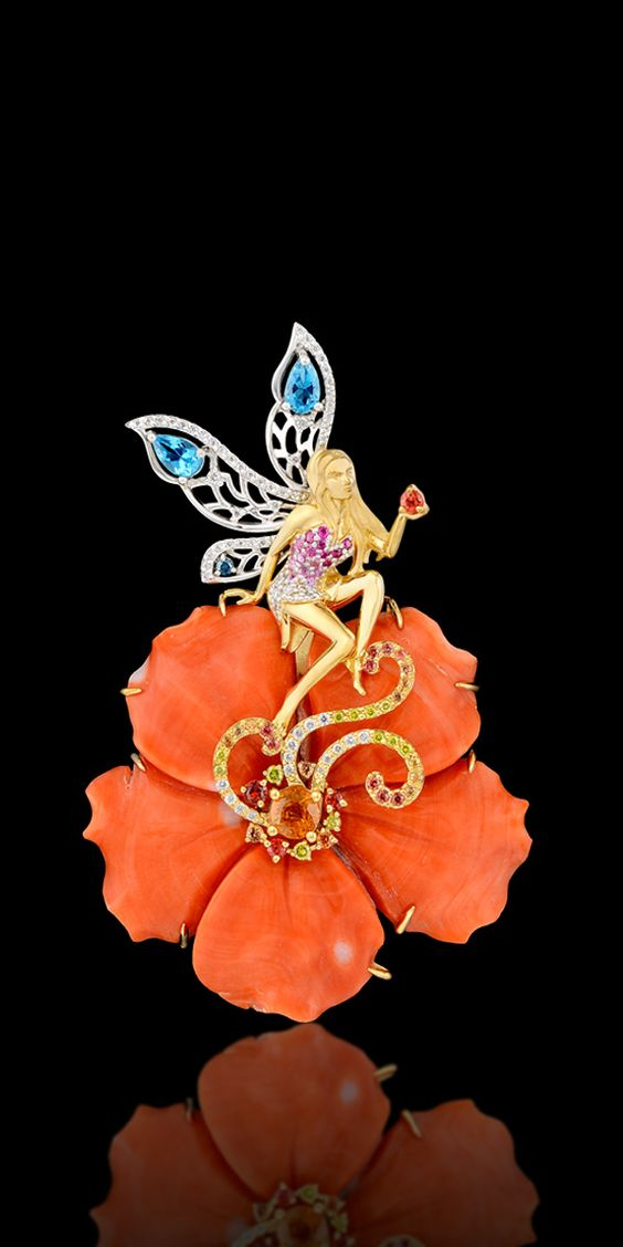 Pendant-brooch 12120 Collection: Mysticism  18K yellow and white gold, coral 44,37 ct, diamonds, yellow diamonds, pink sapphires, orange sapphires, topaz.: