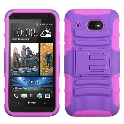 PINK ON PURPLE HYBRID ARMOR SHIELD KICKSTAND COVER HARD CASE for HTC DESIRE 601 in Cell Phones & Accessories   eBay