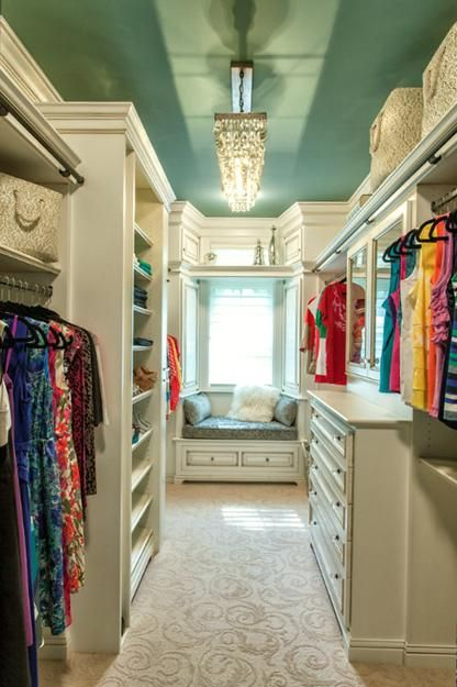 Paint the ceiling!! Pop of color. Bedroom designs with walk in closets and closet organizing tips: