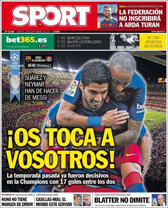 Portada Sport 29/09/2015