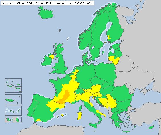 Valid for 22.07.2016 Meteoalarm - severe weather warnings for Europe - Mainpage
