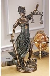 The Greek goddess of justice is artistically sculpted in this work perfect for home gallery or law office. Blindfolded for impartiality and balancing the scales of truth, Themis transcends the snakes of injustice at her feet. Our Toscano exclusives - both desktop and large scale - are cast in quality designer resin with rich faux bronze finishes.