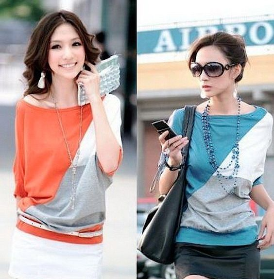 Casual Tricolor Batwing Blouse