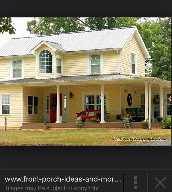 Front Porch Of Yellow House Stock Photo: Mountain Man Projects