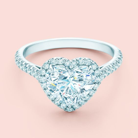 A Tiffany valentine speaks louder than words. Tiffany Soleste® Heart engagement ring in platinum with diamonds.