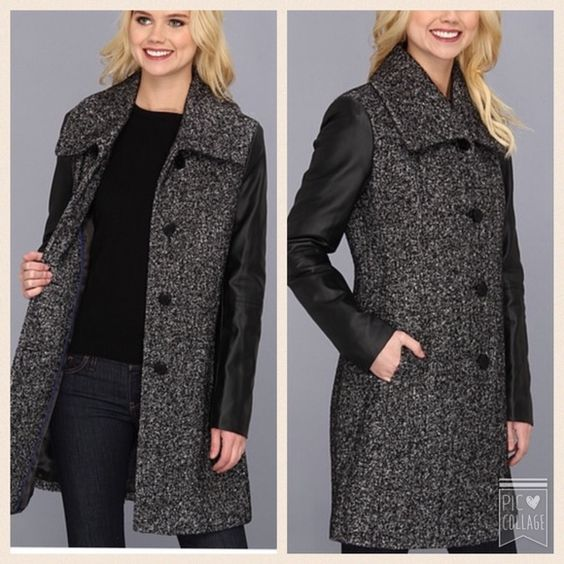 CK mixed media coat  So chic coat from CK. Used few times but in great condition  Oversized fold-over collar. Button placket - Faux leather sleeves; Slant hand pockets - Vented back hem. Straight hemline. Coat is Lined. 46% wool, 28% rayon, 26% polyester; Faux leather: 100% polyurethane; Body lining: 100% polyester; Sleeve lining: 75% polyester, 25% cotton. Dry clean only. ❌ no trades ❌Bundles are always welcomed - 15% on 2 items and 20% off on 3 or more items  Calvin Klein Jackets & Coats
