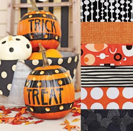 ❤ =^..^= ❤    Color Inspirations | AllPeopleQuilt.com |  Tricks and Treats  You can make any color fabric pop off a quilt by pairing it with black. If you're using only two or three colors in a project, such as the orange, black, and white fabrics featured here, make sure to use fun and graphic prints to provide interest and contrast.