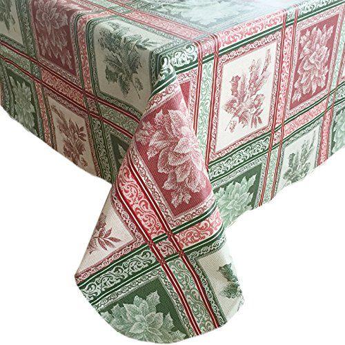 Festive Holiday Season Jacquard Flannel Back Vinyl Christmas Tablecloth 60 Inch X 120 Inch O Vinyl Christmas Tablecloth Christmas Table Cloth Holiday Festival
