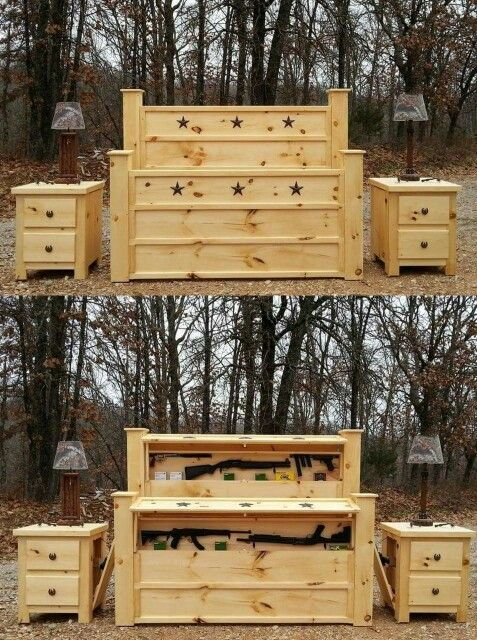 Headboard With Place Your Rifles And Nightstands Things Made From Pallets Pinterest Rifles