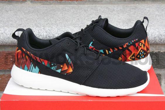 Details about New Nike Roshe Run Custom Black White Aztec ...